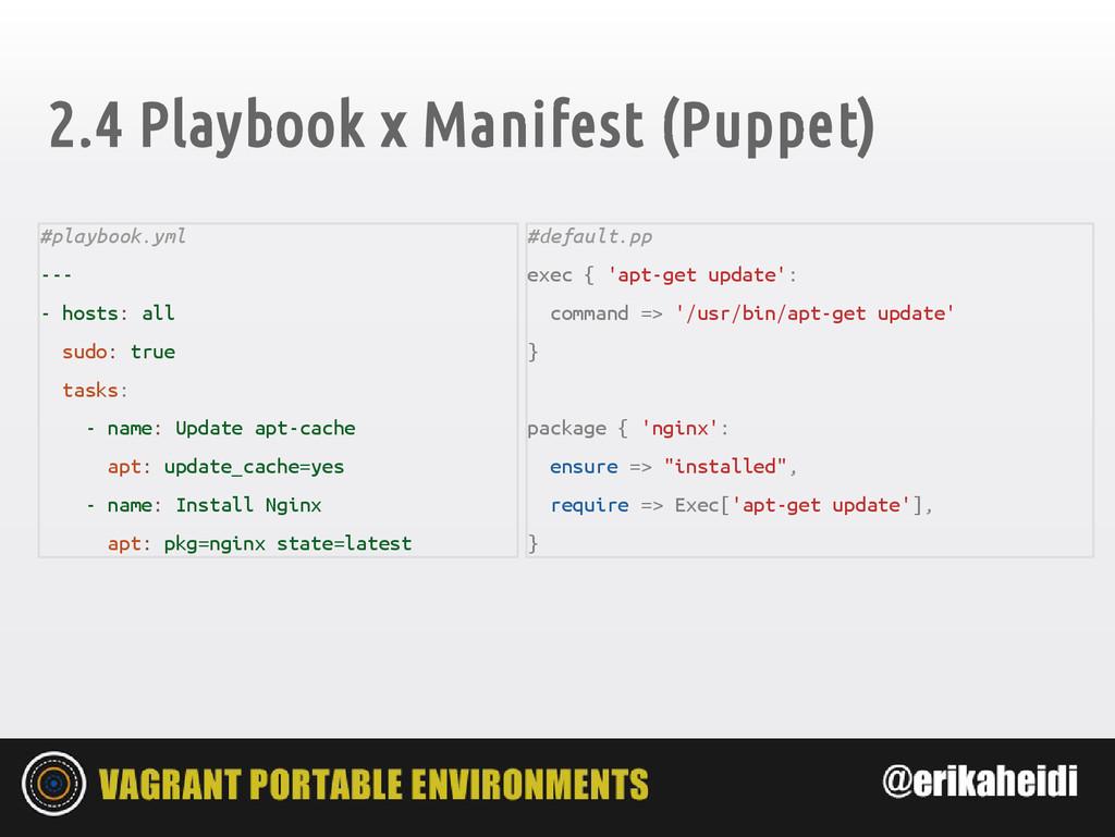 2.4 Playbook x Manifest (Puppet) #playbook.yml ...