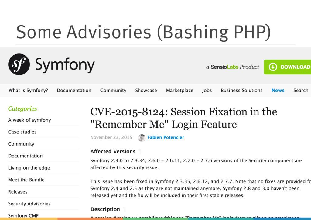 Some Advisories (Bashing PHP)