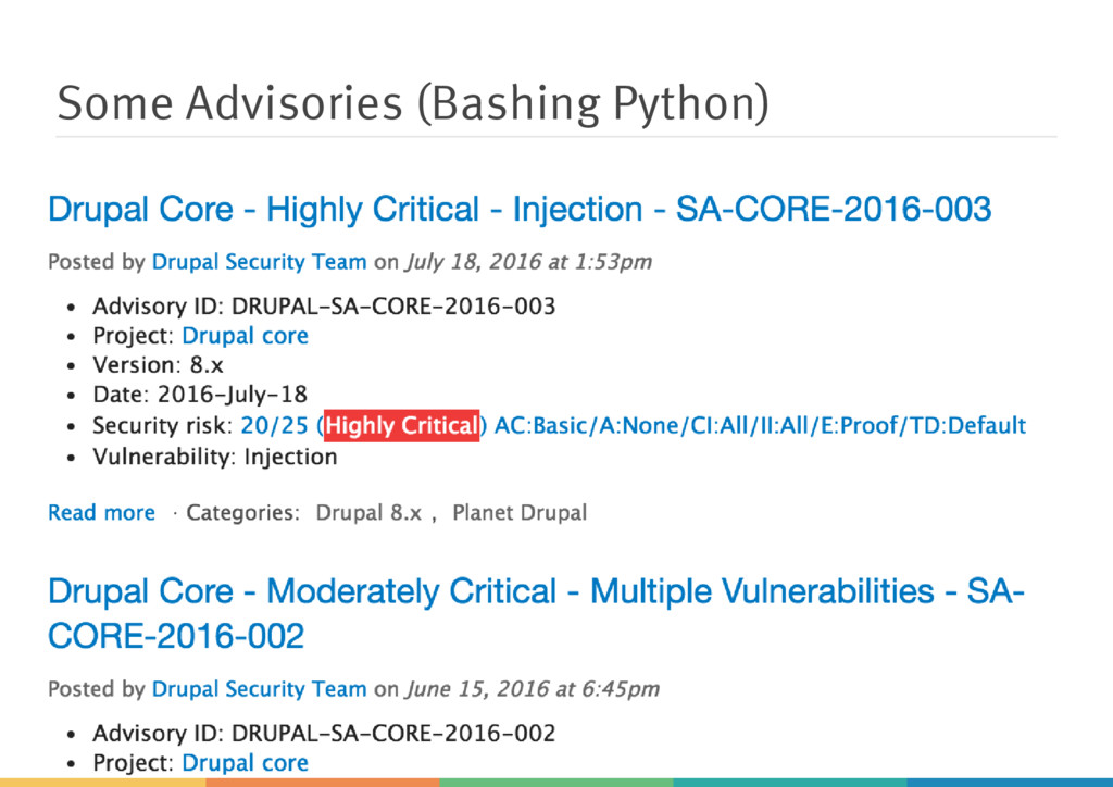 Some Advisories (Bashing Python)