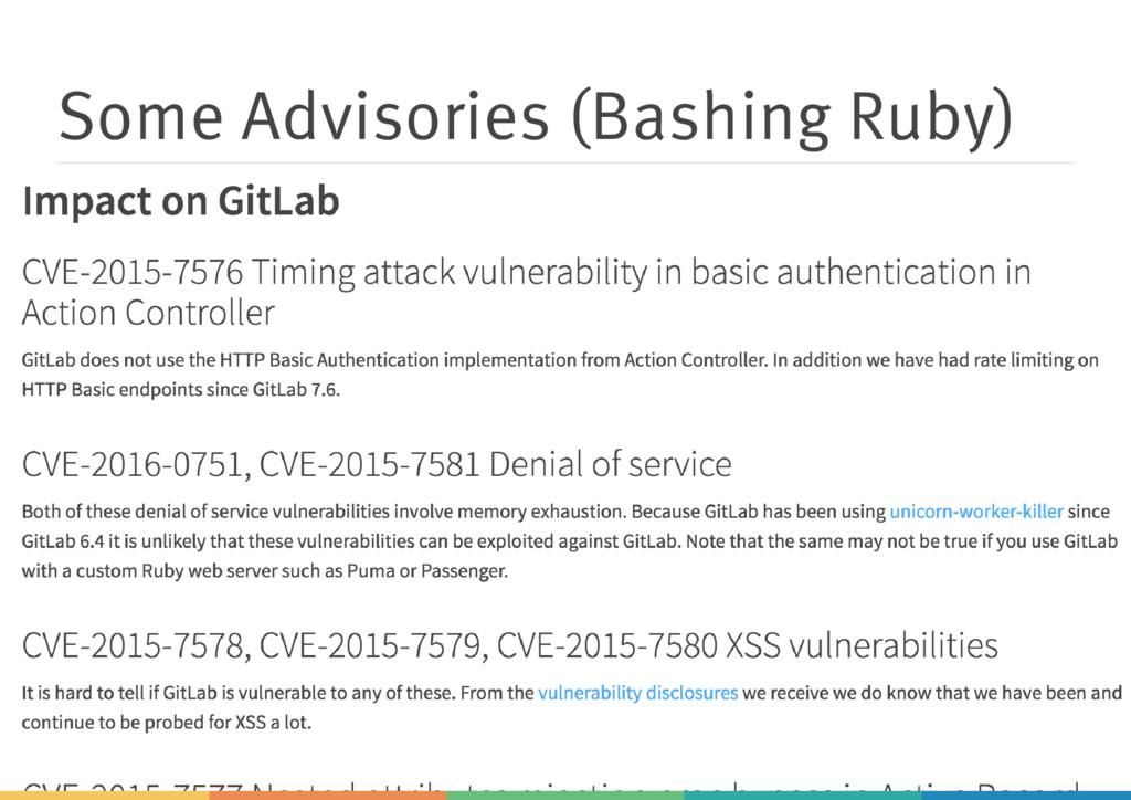 Some Advisories (Bashing Ruby)