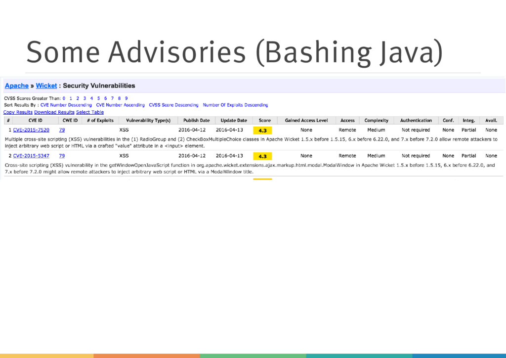 Some Advisories (Bashing Java)