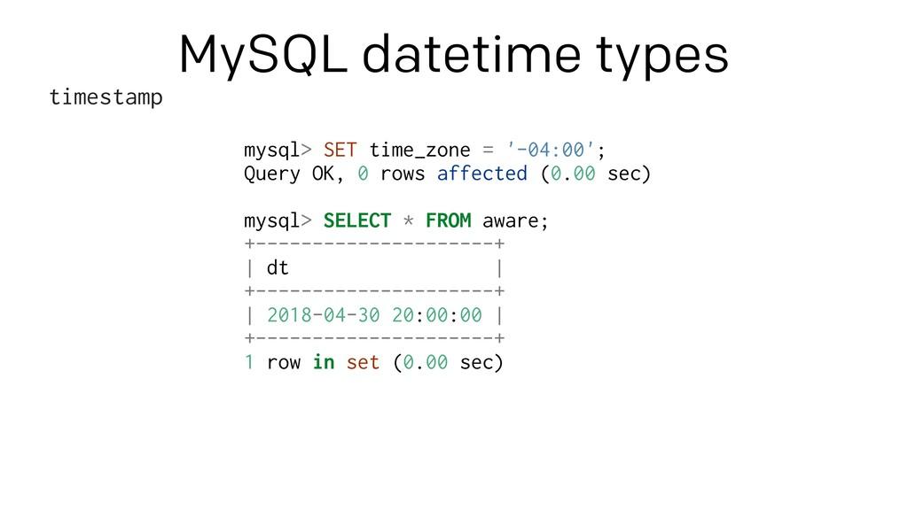 Mysql timezone list