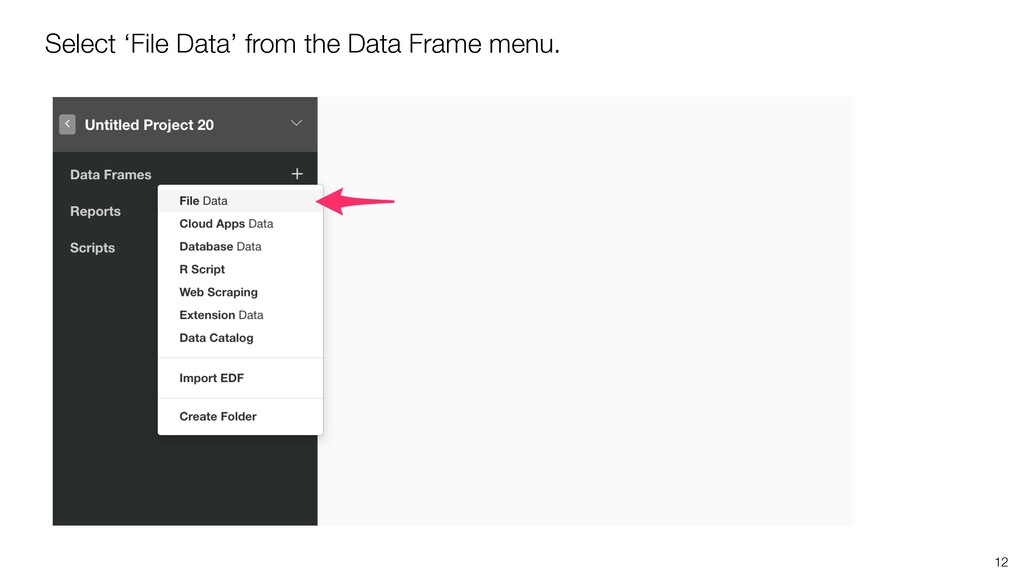 12 Select 'File Data' from the Data Frame menu.