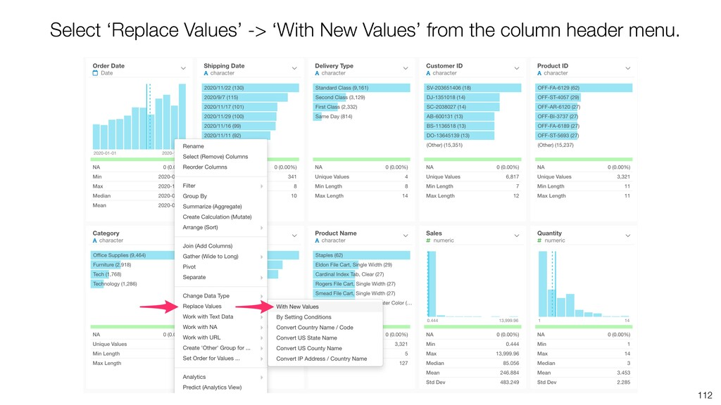 112 Select 'Replace Values' -> 'With New Values...