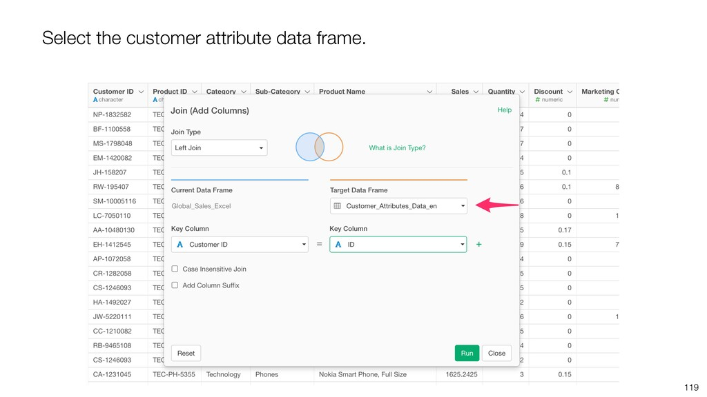 119 Select the customer attribute data frame.