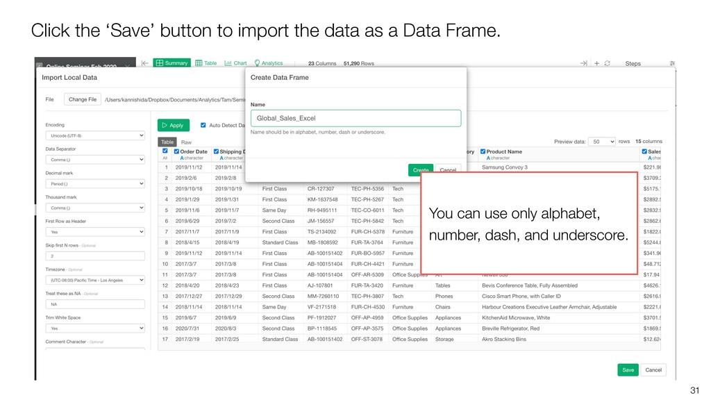 31 Click the 'Save' button to import the data a...