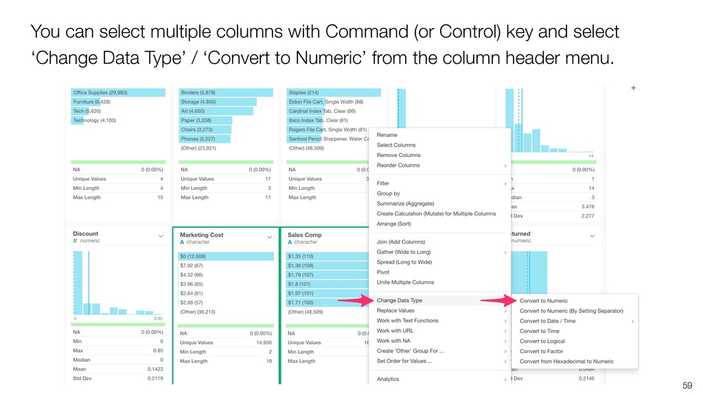 59 You can select multiple columns with Command...