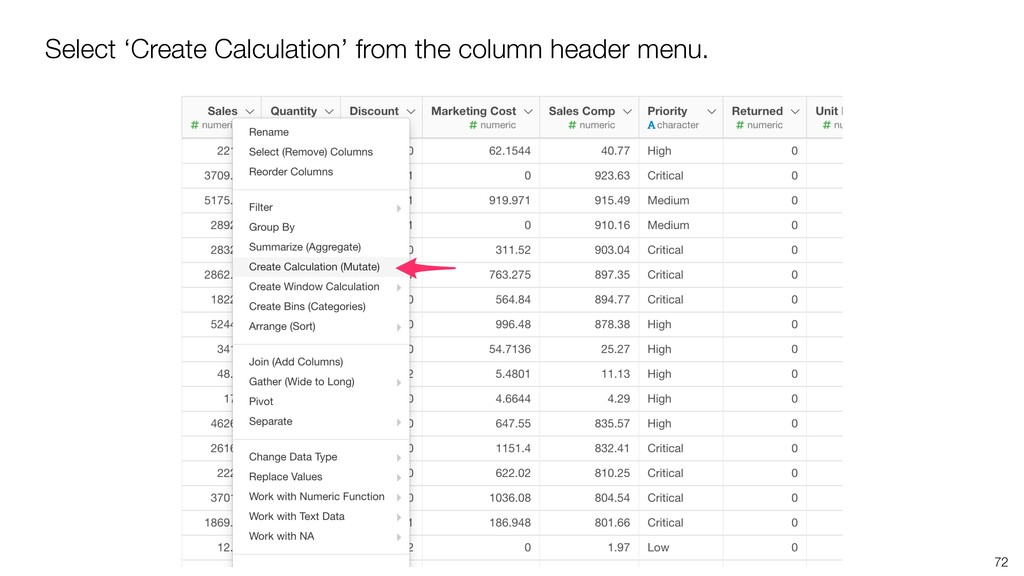 72 Select 'Create Calculation' from the column ...