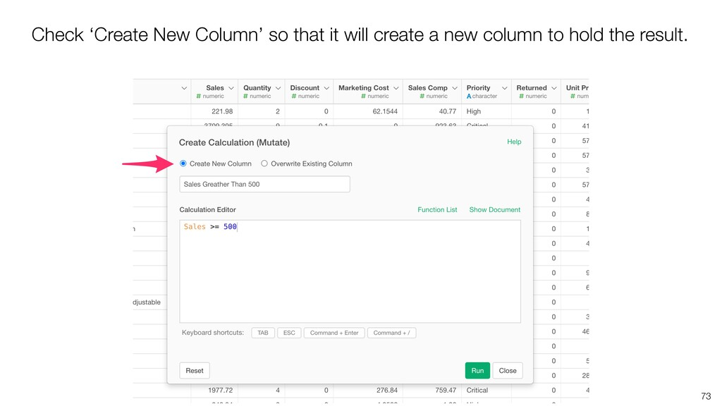 73 Check 'Create New Column' so that it will cr...