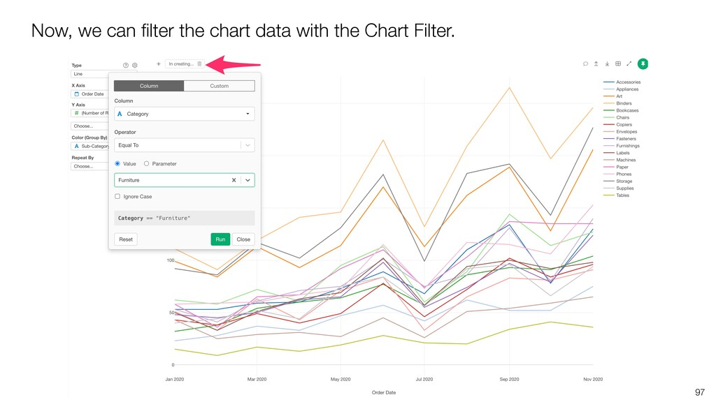 97 Now, we can filter the chart data with the Ch...