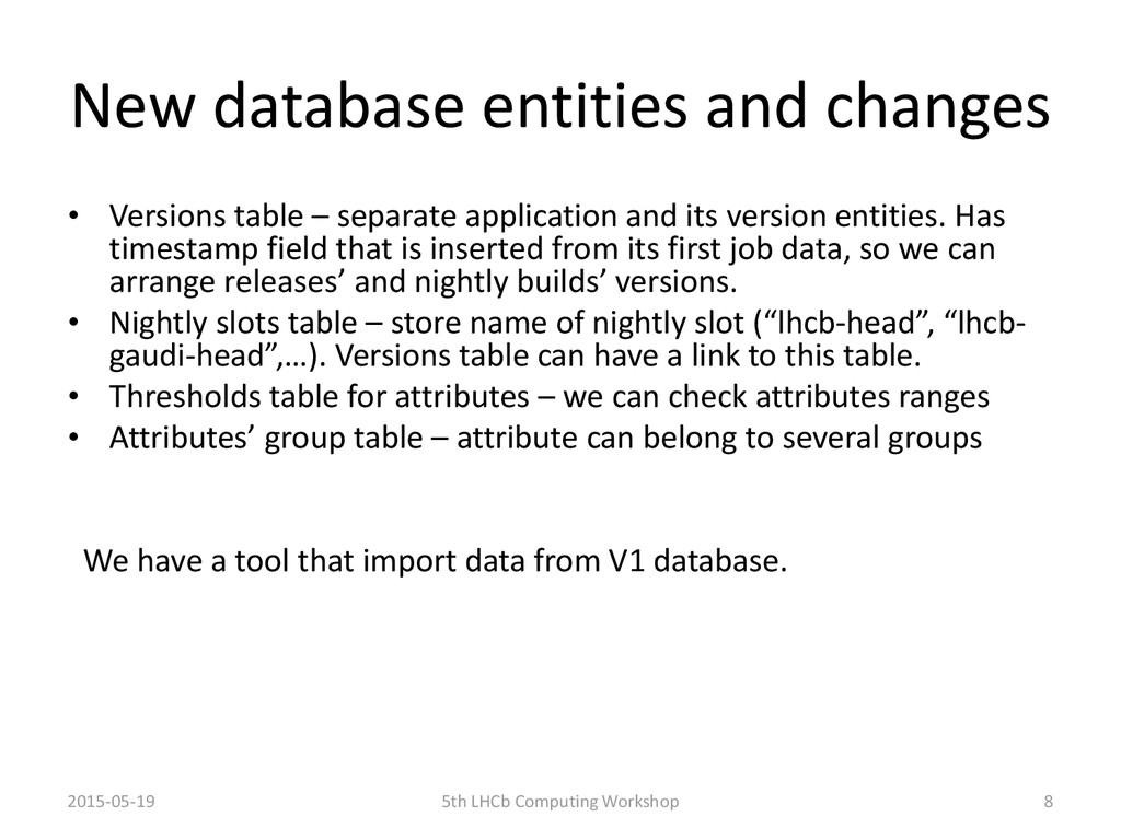 New database entities and changes • Versions ta...