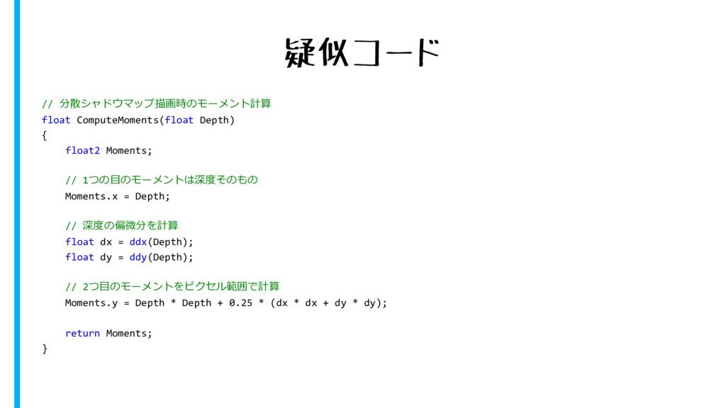 疑似コード // 分散シャドウマップ描画時のモーメント計算 float ComputeMome...