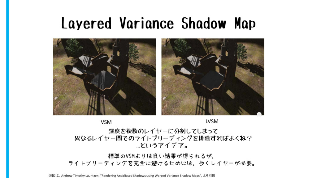 Layered Variance Shadow Map VSM LVSM 深度を複数のレイヤー...