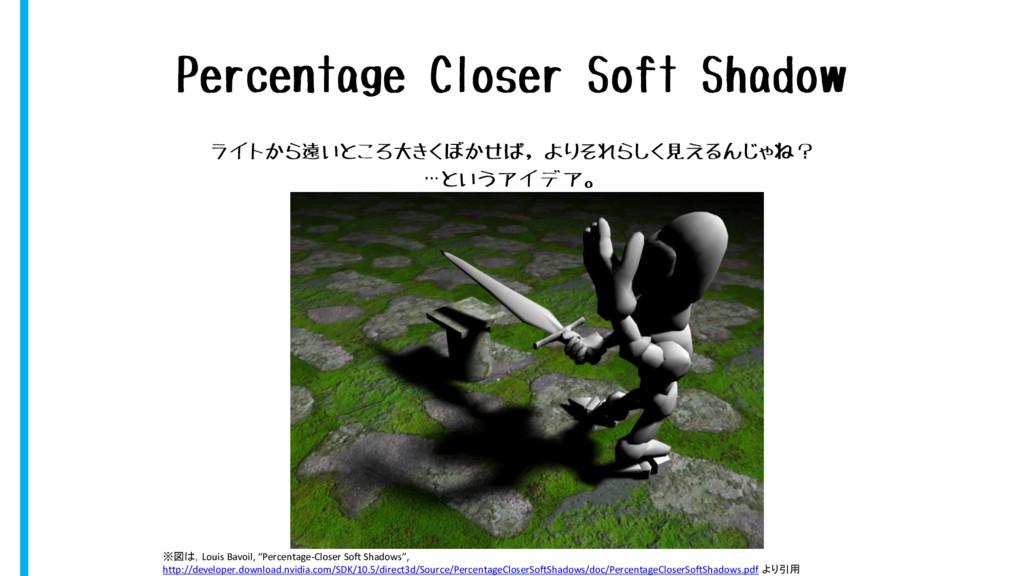 Percentage Closer Soft Shadow ライトから遠いところ大きくぼかせば...