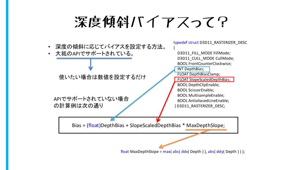 深度傾斜バイアスって? typedef struct D3D11_RASTERIZER_DES...