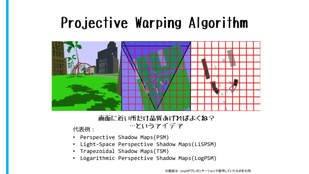 Projective Warping Algorithm 代表例: • Perspective...