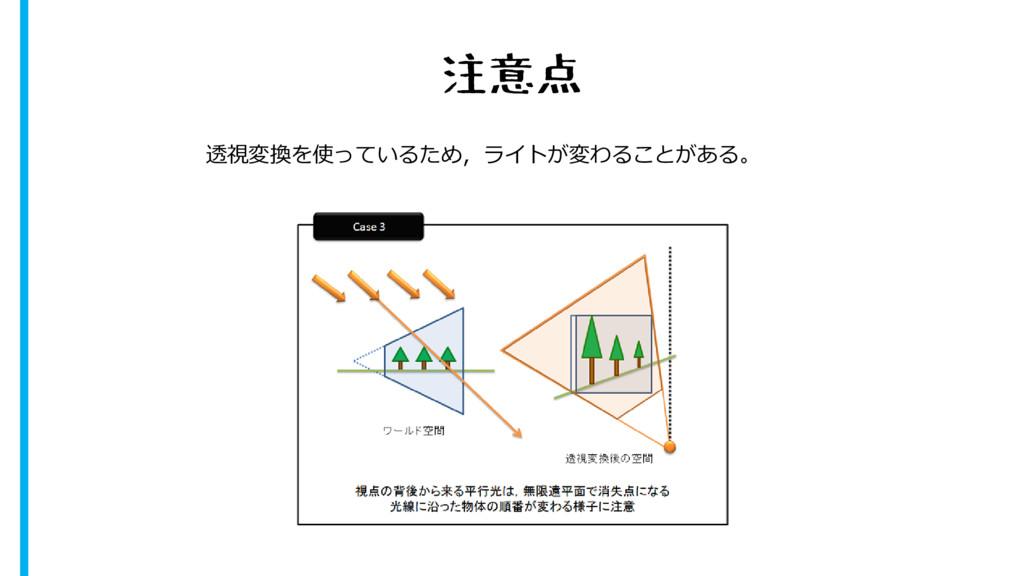 注意点 透視変換を使っているため,ライトが変わることがある。