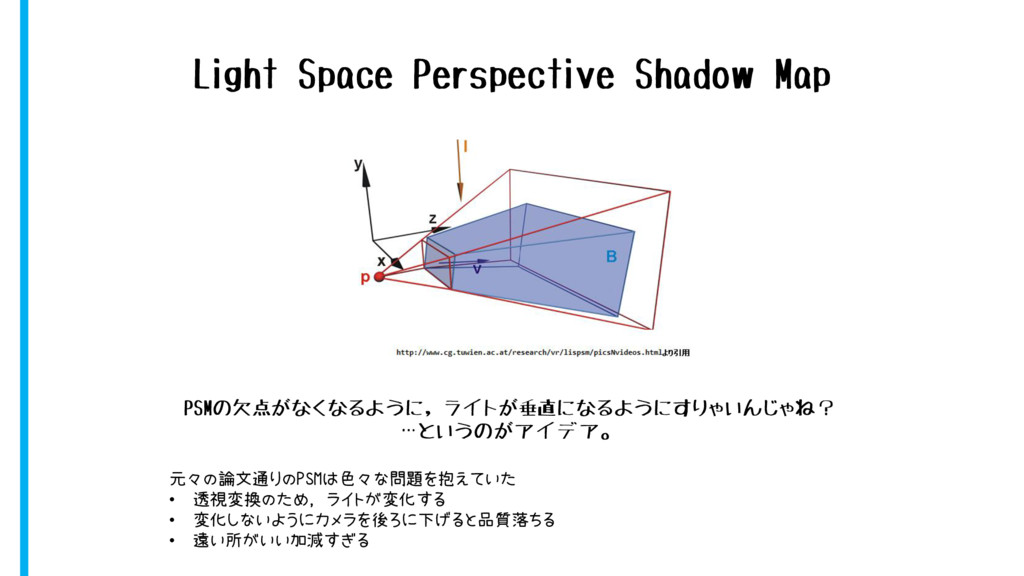 Light Space Perspective Shadow Map PSMの欠点がなくなるよ...