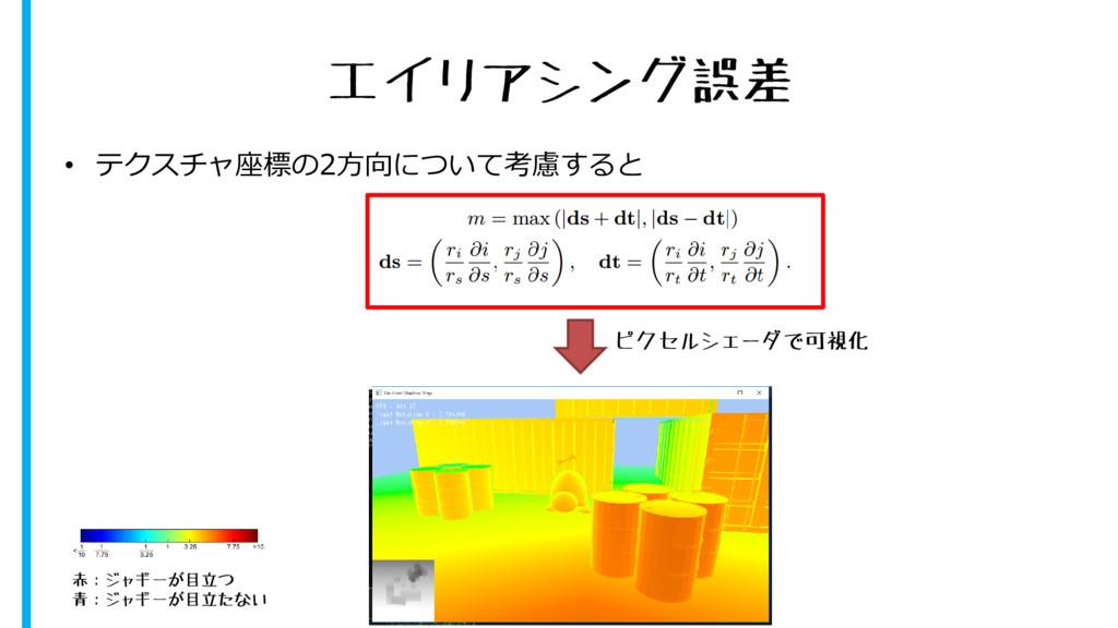 エイリアシング誤差 • テクスチャ座標の2方向について考慮すると ピクセルシェーダで可視化 赤...