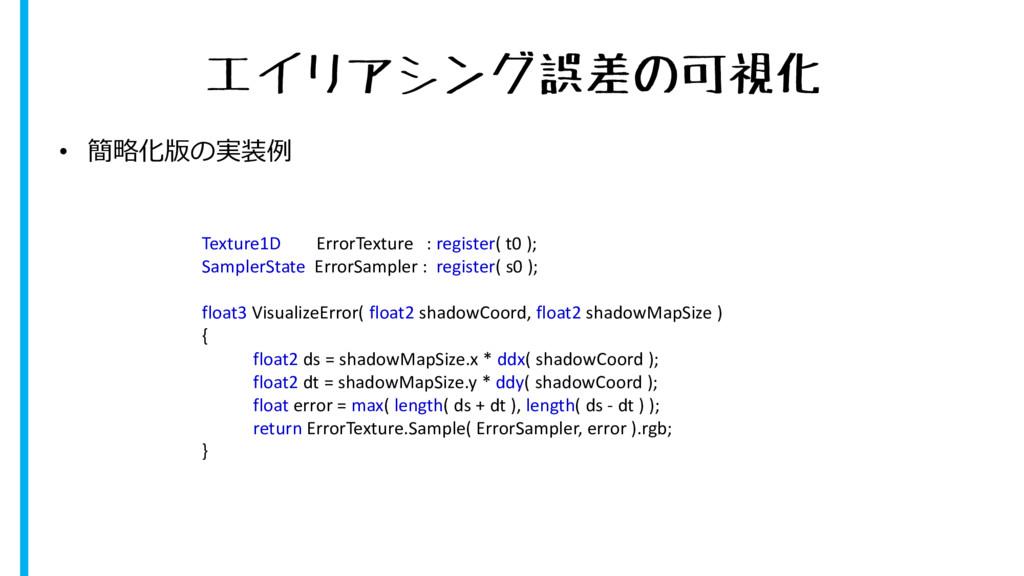 エイリアシング誤差の可視化 • 簡略化版の実装例 Texture1D ErrorTexture...