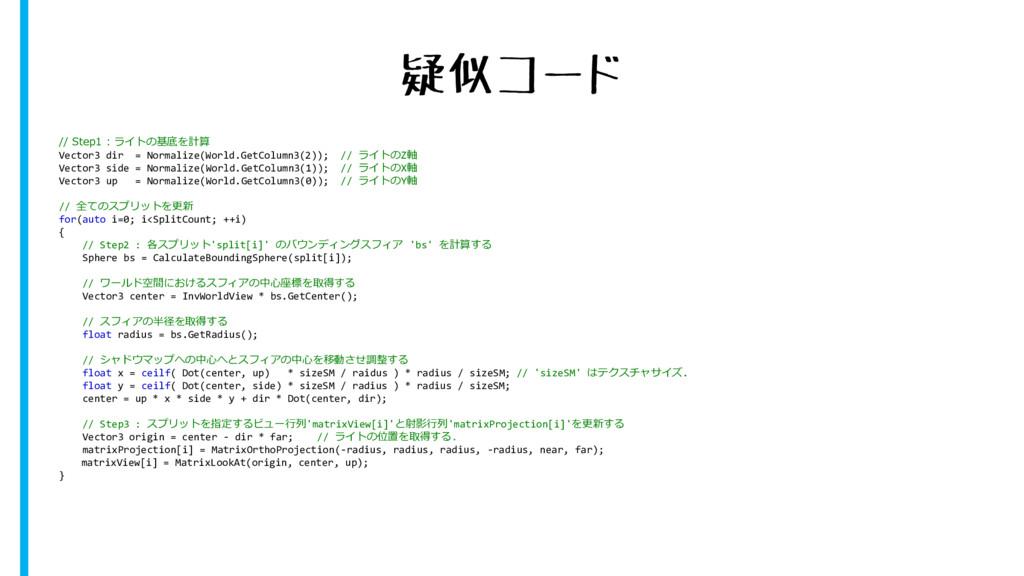 疑似コード // Step1 : ライトの基底を計算 Vector3 dir = Normal...