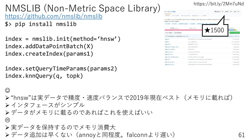 https://bit.ly/2Mn7uNd 61 NMSLIB (Non-Metric Sp...