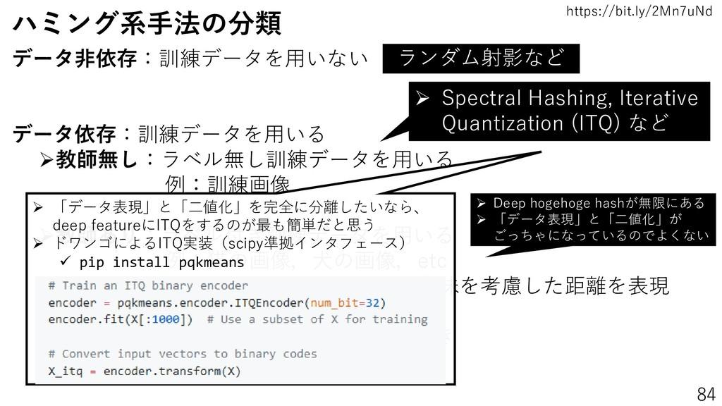 https://bit.ly/2Mn7uNd 84 ハミング系手法の分類 データ非依存:訓練デ...