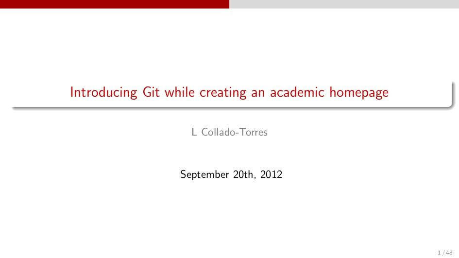 Introducing Git while creating an academic home...