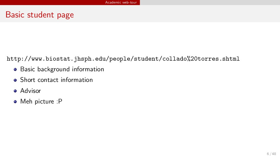 Academic web-tour Basic student page http://www...