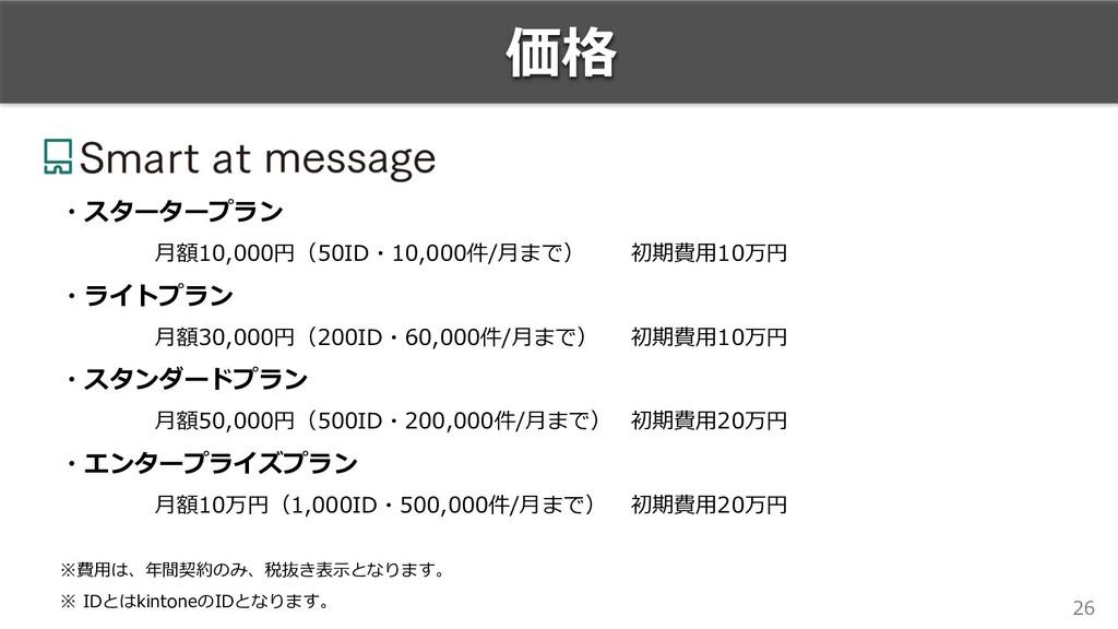 26 価格 ・スタータープラン ⽉額10,000円(50ID・10,000件/⽉まで) 初期費...