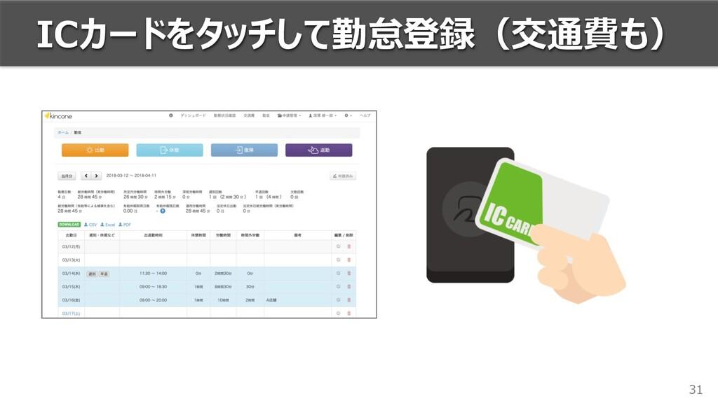 31 ICカードをタッチして勤怠登録(交通費も)