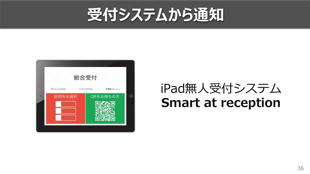 36 受付システムから通知 iPad無⼈受付システム Smart at reception
