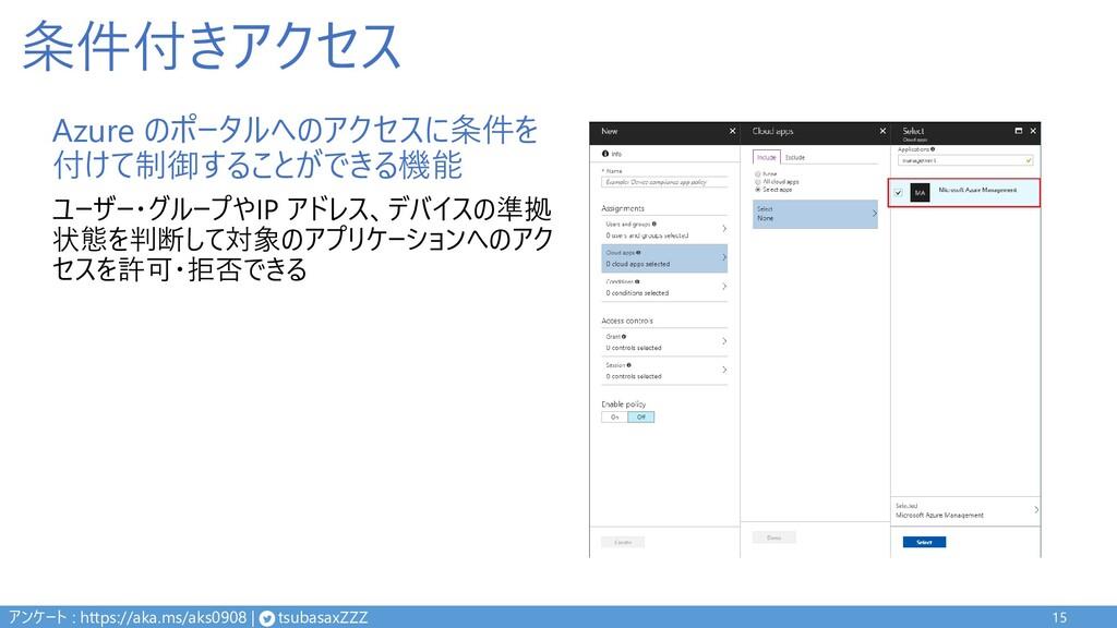 条件付きアクセス Azure のポータルへのアクセスに条件を 付けて制御することができる機能 ...