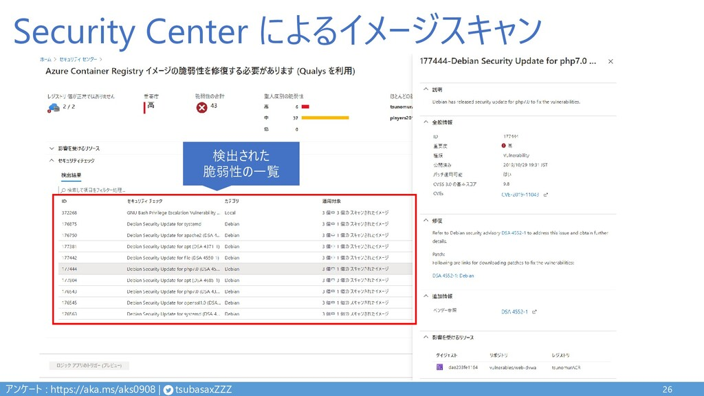 Security Center によるイメージスキャン 26 検出された 脆弱性の一覧 アンケ...