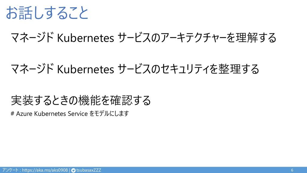 お話しすること マネージド Kubernetes サービスのアーキテクチャーを理解する マネー...