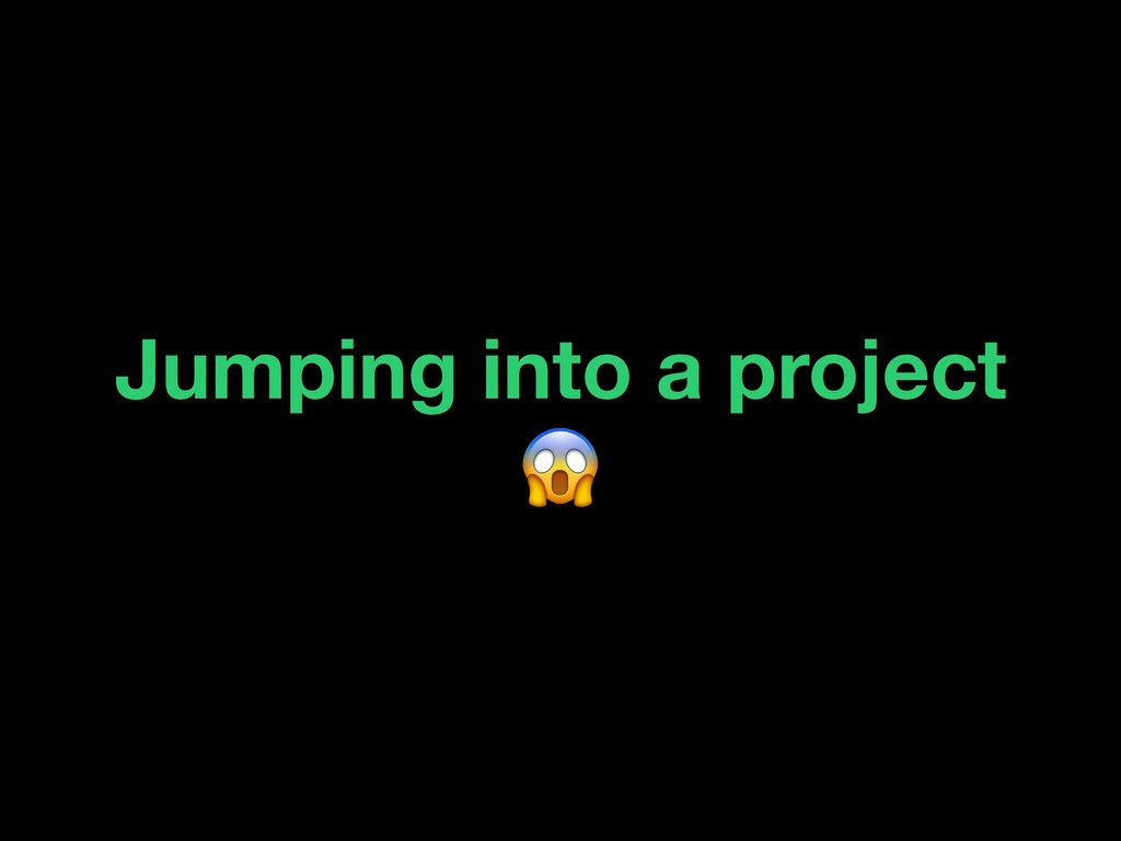 Jumping into a project
