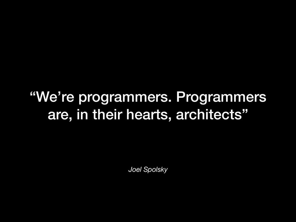 "Joel Spolsky ""We're programmers. Programmers ar..."