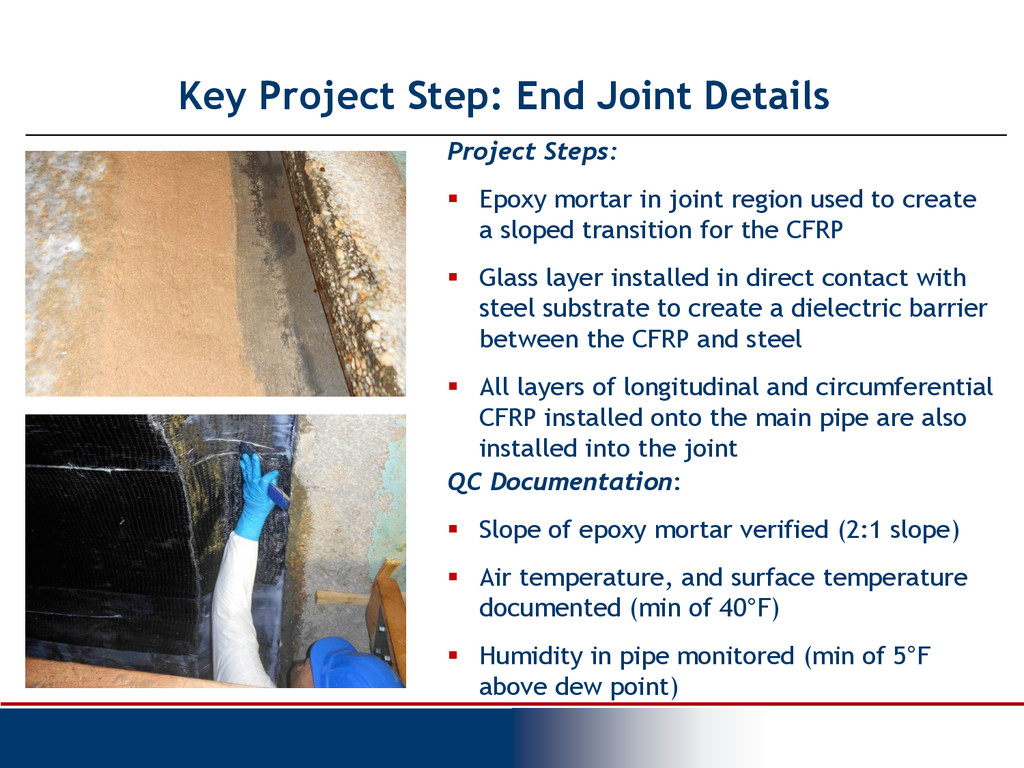 Project Steps:  Epoxy mortar in joint region u...