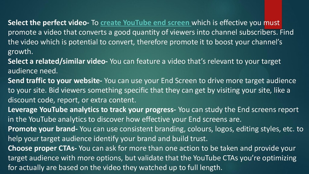 Select the perfect video- To create YouTube end...