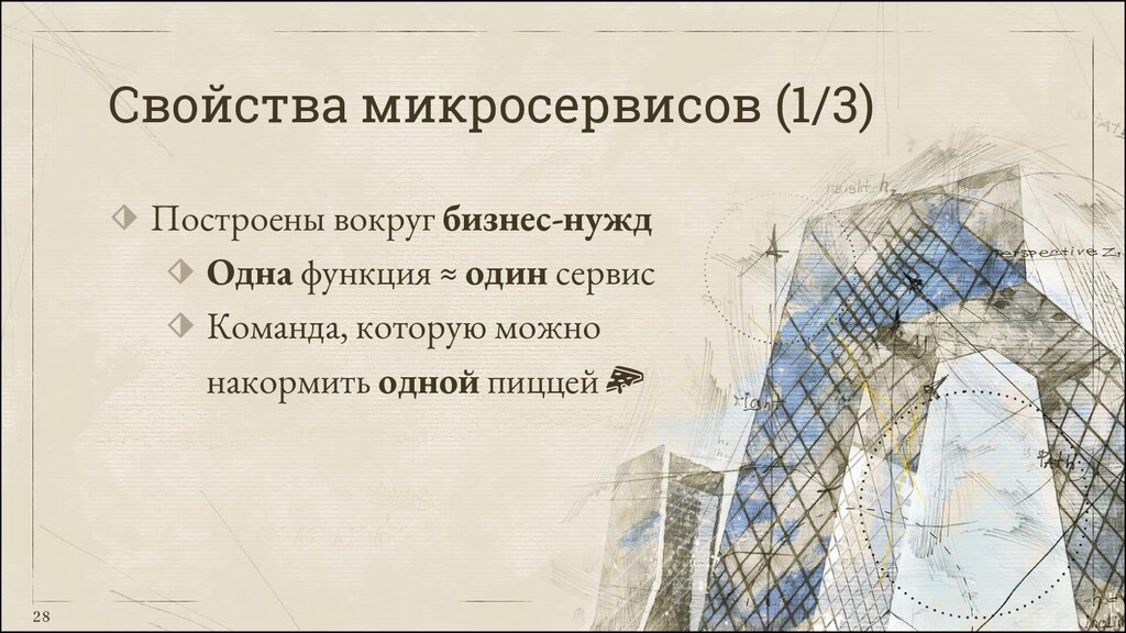 28 Свойства микросервисов (1/3) ⬗ Построены вок...