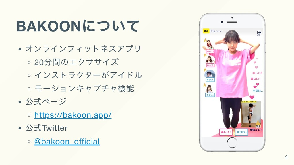 BAKOON について オンラインフィットネスアプリ 20 分間のエクササイズ インストラクタ...