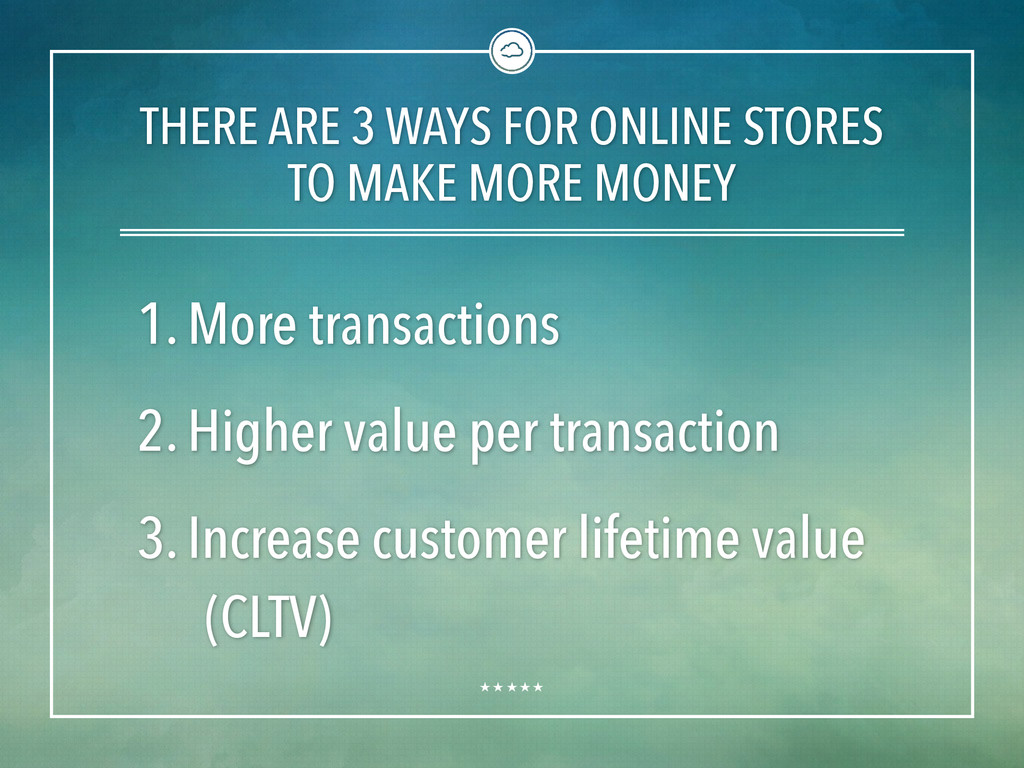 THERE ARE 3 WAYS FOR ONLINE STORES TO MAKE MORE...