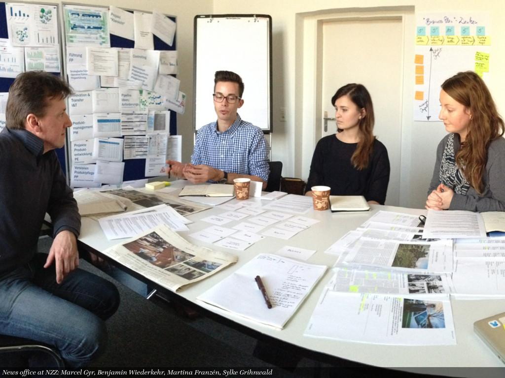 News office at NZZ: Marcel Gyr, Benjamin Wiederke...