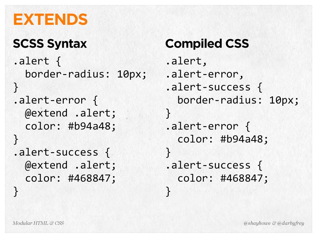 @shayhowe & @darbyfrey Modular HTML & CSS EXTEN...
