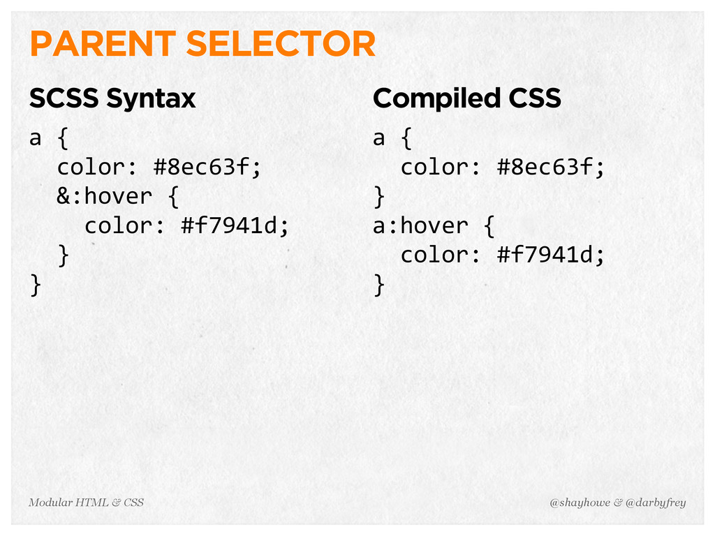 @shayhowe & @darbyfrey Modular HTML & CSS PAREN...