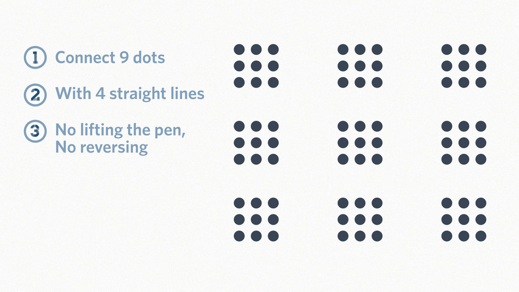 Connect 9 dots No lifting the pen, No reversing...