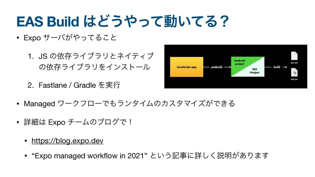 EAS Build Ͳ͏ͬͯಈ͍ͯΔʁ • Expo αʔό͕ͬͯΔ͜ͱ  1. JS ...
