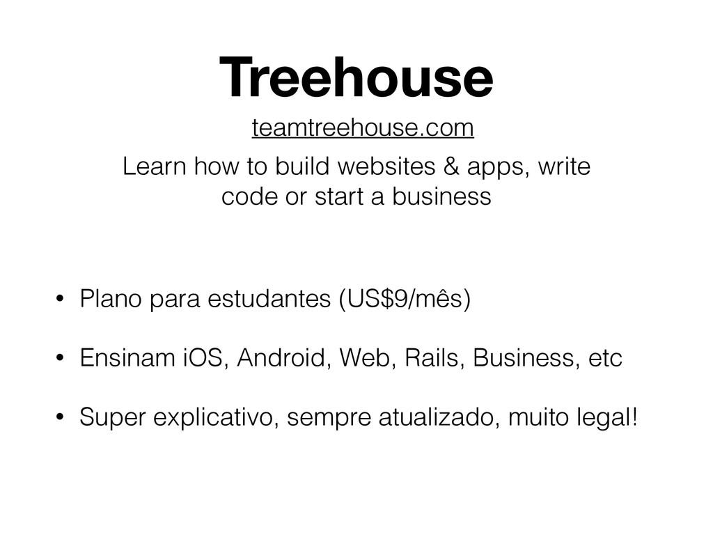 Treehouse • Plano para estudantes (US$9/mês) • ...