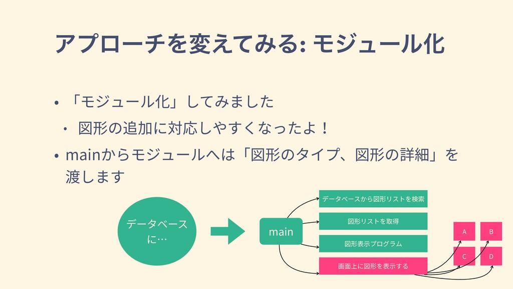 ΞϓϩʔνΛม͑ͯΈΔ: ϞδϡʔϧԽ • 「モジュール化」してみました • 図形の追加に対応...