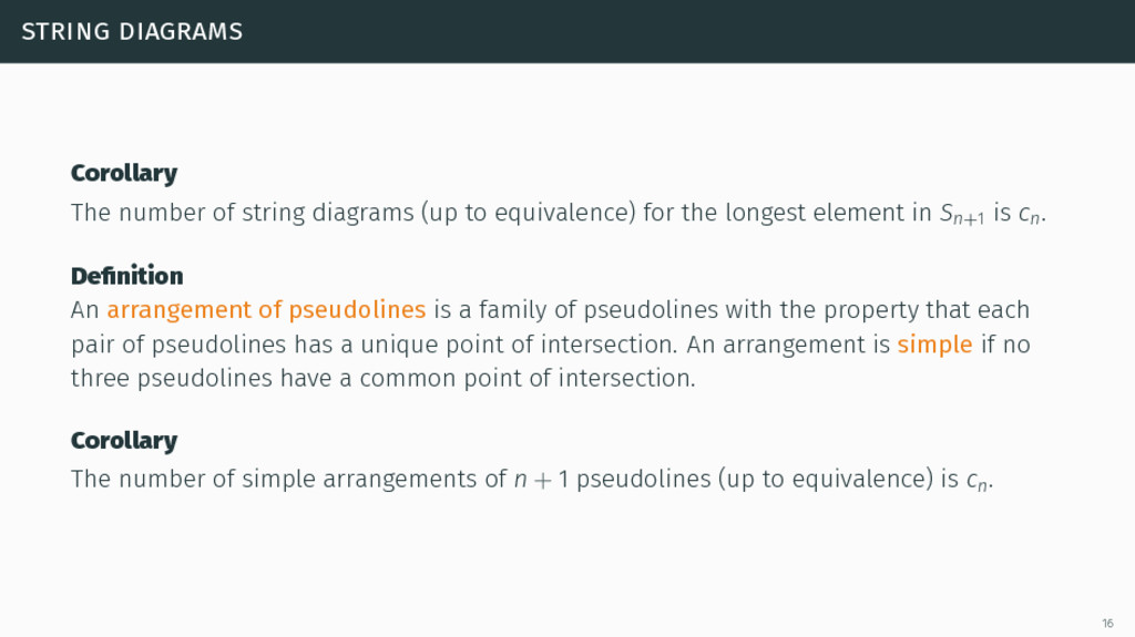 string diagrams Corollary The number of string ...